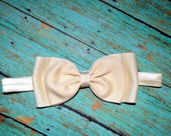 Ivory Bow Headband / Ivory Baby Headband / Christening Headband / Baptism Headband / Baby Hair Accessories / Baby Girls Hair Accessories