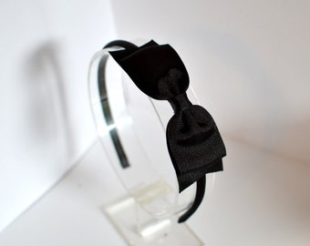 Black Bow Headband / Black Grosgrain Bow with Spike / Women's Headband / Hard Headband / Girls Hair Accessories / Hair Accessories / Alice