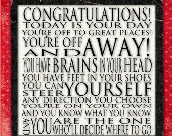Dr Seuss Congratulations -12x12 Gallery Wrapped Canvas - Today is your day - Red Black Dotty graduation birthday event
