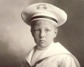 Handsome Young BOY in United States Schley NAVY UNIFORM Photo Circa 1910s