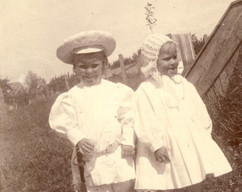 BUSTER BROWN with His Sister Both Dressed in White Photo Circa 1920