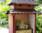 """Pagoda - 7"""" wide X 10"""" tall X 5"""" deep - Original Mixed Media from Salvaged and Found Objects"""