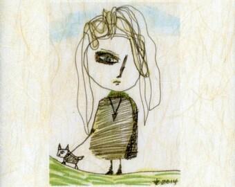"Celia in Striped Dress- Walking Patagonia--Boho-Girl-8.5x11"" on Japanese Paper Textured Art -Ink- Mixed Media- Black- Green- Blue"