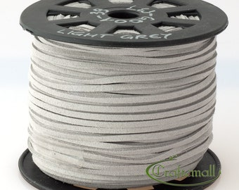 Faux suede cord 3mm wide - light grey - 3 meters