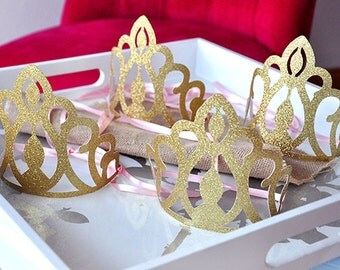 Pink and Gold Birthday Party Decoration.  Handcrafted in 2-3 Business Days.  Princess Crowns as Party Favors.