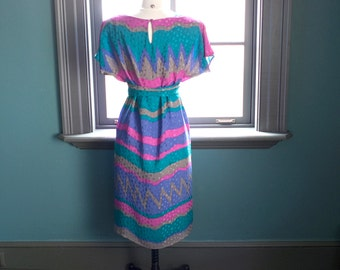 Vintage circa 1980s FLORA KUNG silk SHIFT dress / geo color-block print / tunic tent dress