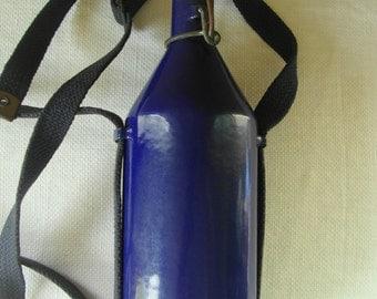 PRE WWII Cobalt Metal Water Bottle Military Enamelware Water Bottle Dutch Back Pack Camping Water Bottle Antique Military Blue Enamel Bottle