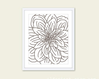 Modern Flower Print - Flower Wall Art - Dahlia Flower Art Print - Flower Wall Art  Modern Decor - Custom Color - Office Wall Art