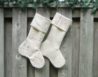 Christmas Stockings French Script & Ivory Burlap