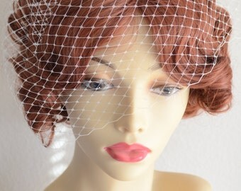 MADE TO ORDER,Birdcage veil, Small Birdcage veil, Vintage Veil,french netting veil, Ivory veil,Cage veil,Style VB003