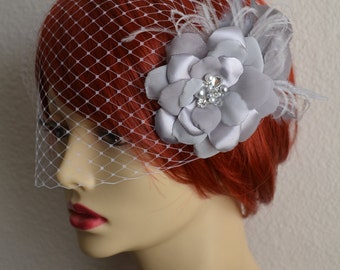 MADE TO ORDER,Grey Flower and Birdcage Veil,Birdcage veil,Grey Flower with Feathers,Vintage Veil and Headpiece,D015