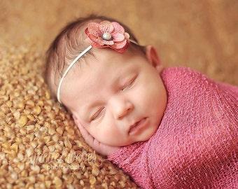 Newborn Photo Prop, Newborn Flower Headband, Newborn Headband, Pink Flower Headband, Pink Toddler Headband, Baby Girl Headband, Small Flower