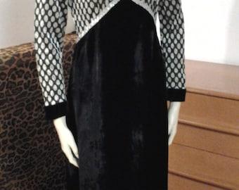Polka Dot Velvet Dress Black Silver Bernie Bee New York Maxi Lame' 1970's Disco Black and Silver Dress Size 4/6