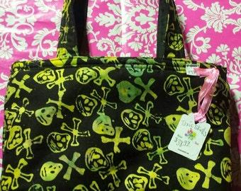 Yellow Skulls - Purse - Crossbones - Yellow Heavy duty Zipper - Black