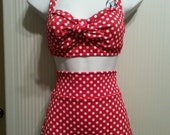 High Waisted Red with White Polka Dot Swimsuit