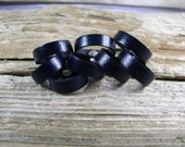 Mens And Womens Blue Leather Ring Band -  Leather Jewelry -  Leather Band - Wedding Band - Dark Blue Leather Band