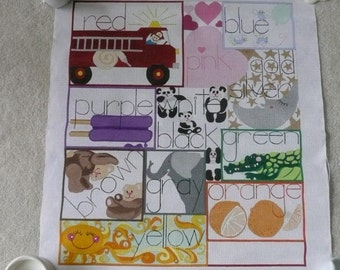LARGE Color and Animal Educational Sampler Needlepoint Canvas for Childs Room