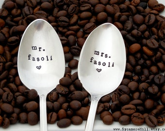 CUSTOM Mr. & Mrs. Personalized Spoons. CUSTOM with NAME. His Hers Spoons. The Original Hand Stamped Vintage Spoons™ Coffee Inspired Gift