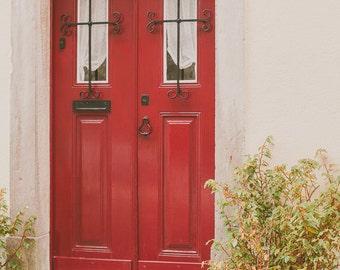 Door Print, Red Door, City photograph, Architecture photo, Countryside Print, Door Photography, Shabby Chic Decor, Romantic Fine Art