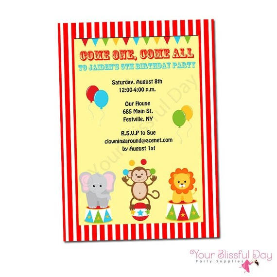 PRINTABLE Circus Party Invitations #519