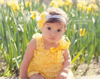 Yellow flower headband,yellow chiffon headband, lace headband, yellow white headband, baby headband,newborn headband, any size, photo prop