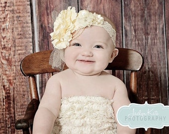 Vintage style ivory silk satin lace headband,netting, ivory headband-newborn, Great Gatsby ,photo prop-flower girl-bridal