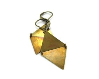 Brass Diamond Earrings | Geometric Jewelry
