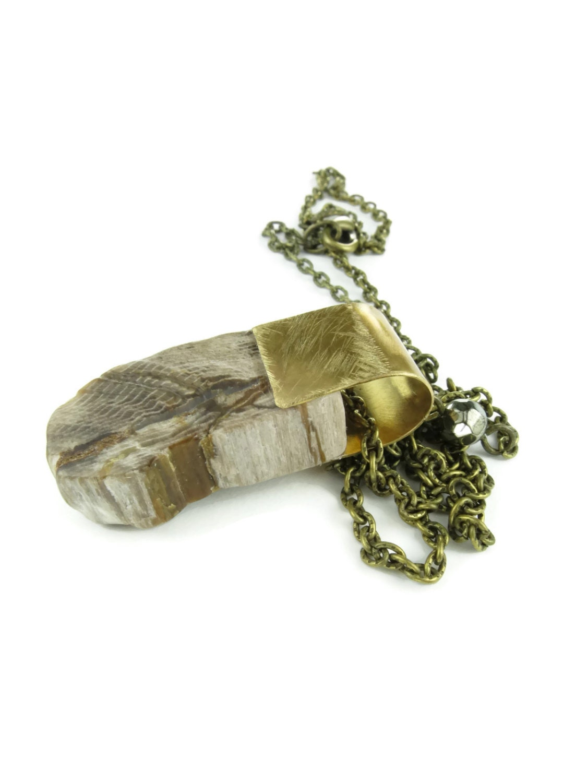 petrified wood necklace specimen jewelry