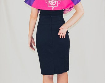 CLEARANCE ***** God's Peace cape with pink + purple contrast panels made from vintage and recycled fabrics
