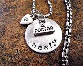 Personalized Vet Jewelry, Veterinarian Jewelry, Veterinarian Necklace, Vet Necklace, Animal Hospital Jewelry, DVM