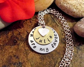 You Are My Favorite Jewelry, Personalized Jewelry, Hand Stamped Jewelry, You Are My Favorite