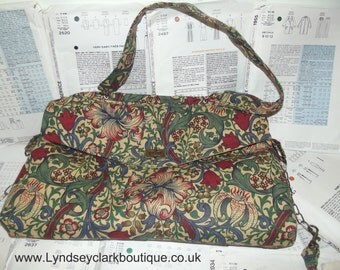 Unique satchel shoulder bag made from recycled Vintage William Morris fabric