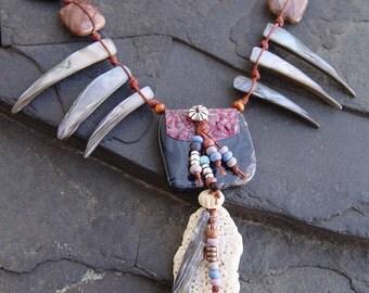 Tribal Medicine Bag Pendant, Black Onyx, Apache Jasper, Weathered Shell on Fiber Necklace