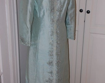 60s Light Blue Beaded Full Length Silk Dress with Back Bow, Wedding, Bridesmaid, Party, Size S