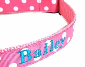 Personalized Dog Collars - 1 inch wide - name and phone included - Sizes 12 - 24 inches - Pink Polka Dots