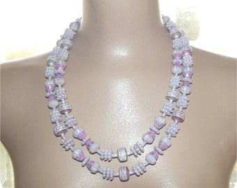 Vintage 40s 50s Double 2 Strand Carved Beaded Necklace Choker Lavender