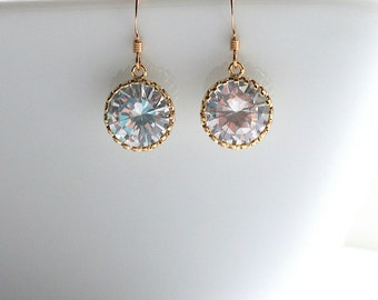 Large, cubic zirconia, gold, silver, bridal, earrings - KYLIE