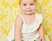 Yellow Baby Headband | Felt Girls Headband | Felt Rosette Headband |  Vintage Inspired Headband | Rosette Infant Headband NO.14-202