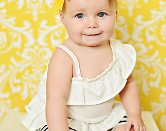 Yellow Baby Headband, Felt Girls Headband, Felt Rosette Headband,  Vintage Inspired Headband, Rosette Infant Headband NO.14-202