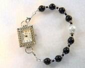 Adornables Watch Bracelet, Interchangeable Watch Band, Watch Bracelet, Black and White Pearls Watch Set, Black and White Watch Band