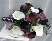 Plum calla lily Wedding Bouquet real touch Bridal bouquet