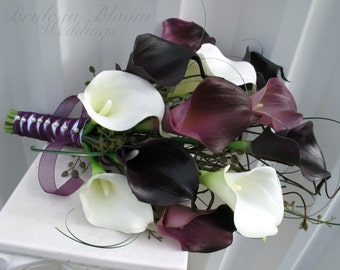Plum calla lily Wedding Bouquet, Real touch Bridal bouquet