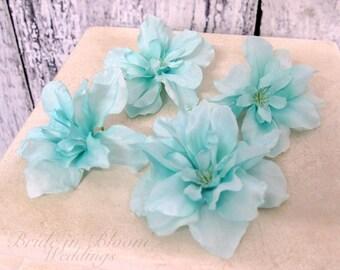 Wedding hair accessories - Turquoise flower bobby pins, hair pins - Set of 4 Bridal hair flowers
