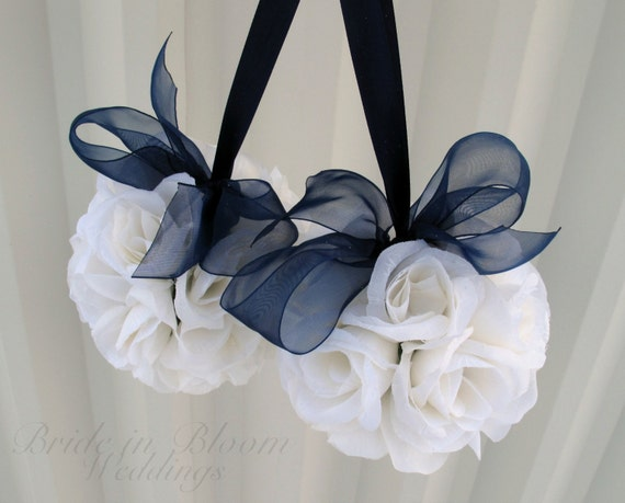Wedding Flower Ball Pomander Navy Blue Wedding Decorations Ceremony