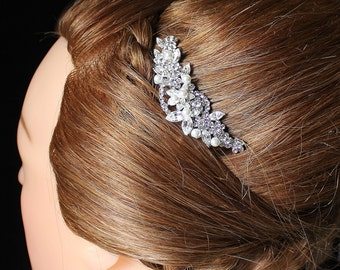 Crystal Bridal Hair comb, Wedding Hair Accessories, Pearl and Crystal Bridal Hair Piece, FLUTTER
