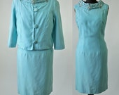 60's Aqua Cocktail Dress Suit Turquoise Beaded1960's Mad Men Wedding Bridal Dress and Jacket size Small/Medium AS IS
