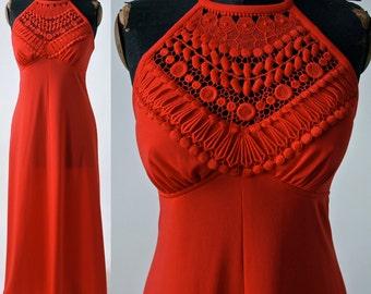 Vibrant Orange Red Halter Maxi Dress 1970's Polyester Crochet Neckline