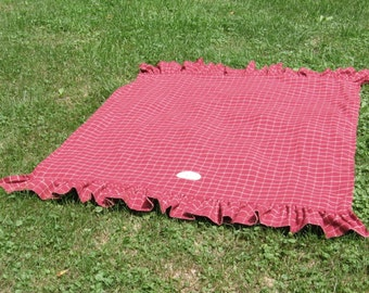 Throw Shiver - Plaid - Blanket - Red - Checkers - Throws Collection - wool - Bed Throw
