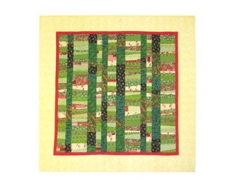 "Quilt  ""The tablecloth of every day"" - Tablecloth - Wall hanging - 54"" x 54"" -  quilting art - Square - Green - Yellow - Pink - Summer"