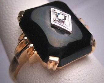 Antique Diamond & Beveled Onyx Ring Vintage Art Deco Wedding 1920